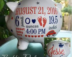customized piggy bank baby personalized piggy bank baby boy piggy bank baby birth stats