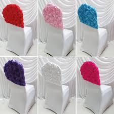 rosette chair covers lycra 3d rosette satin fabric banquet chair cap chair topper for