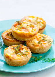 mini salmon quiches recipe simplyrecipes com