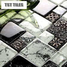 black glass tiles for kitchen backsplashes new arrival black glass mosaic tile resin flowers clear white