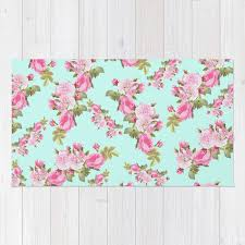 pink u0026 mint green floral rug by lilkiddies society6
