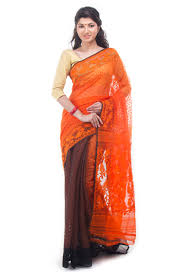 dhakai jamdani saree orange black half half dhakai jamdani muslin saree from bangladesh
