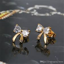 children s earrings 2018 bowknot stud earrings 18k yellow gold plated childrens kids