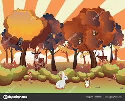 imagenes animadas de otoño bosque de otoño de dibujos animados con animales vector de stock