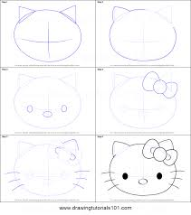 draw kitty face printable step step drawing sheet