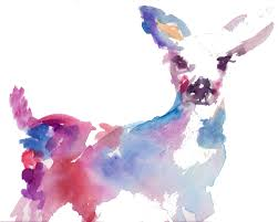 Baby Deer Nursery Abstract Deer Print Watercolor Deer Print Watercolor