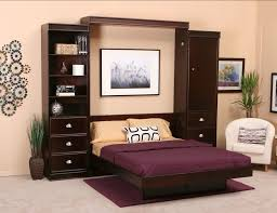 Bedroom Wall Cabinets Storage Furniture Dark Brown Polished Wooden Murphy Bed With Purple