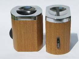 mod 60s wood grain vintage kromex metal kitchen canisters set