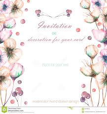 post card invitation template postcard with the watercolor pink abstract flowers and