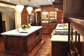 l shape white kitchen designs using solid red cherry wood kitchen