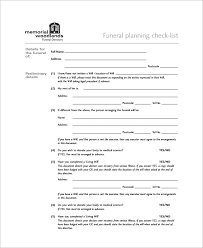 funeral planning checklist sle funeral checklist template 13 documents in pdf psd word