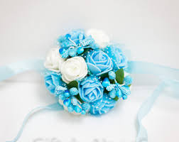 blue corsages for prom blue wrist corsage etsy