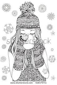 Winter Girl Gifts Winter Snowflakes Adult Stock Vector 516475711 Coloring Book Page