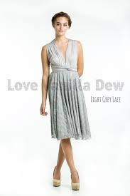 light grey infinity dress bridesmaid dress infinity dress light grey lace knee length wrap