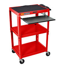 Adjustable Stand Up Computer Desk by Mobile Stand Up Computer Desk Workstation Cart In Red Steel