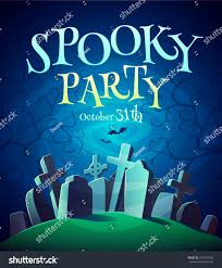 spooky graveyard halloween poster background card stock vector