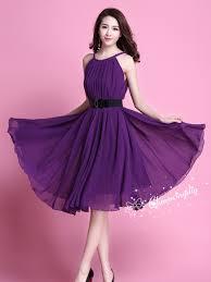 60 colors chiffon dark purple knee skirt party dress evening