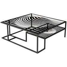 logan coffee table set op art glass and metal cocktail table in the manner of victor