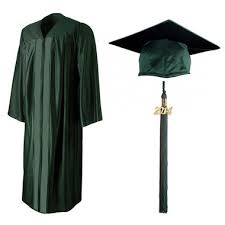 green cap and gown shiny forest green cap gown tassel cool school studios
