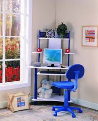 Kids Computer Desk With Hutch by Amazon Com Kings Brand Blue Finish Corner Workstation Kids