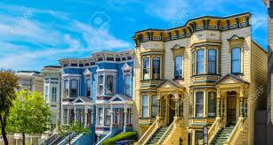 row of italianate style victorian homes san francisco stock photo