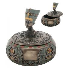 egyptian queen nefertiti round box with egyptian symbols 4 inches