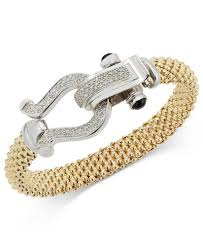 gold plated sterling silver bracelet images Diamond horseshoe clasp mesh bracelet 5 8 ct t w in 14k gold tif