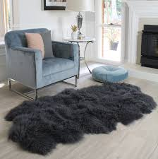 Fur Runner Rug Genuine Charcoal Grey Mongolian Sheepskin Fur Floor Runner Rug