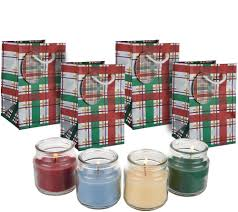 set of 4 2 5 oz candles w gift bags by valerie page 1 qvc