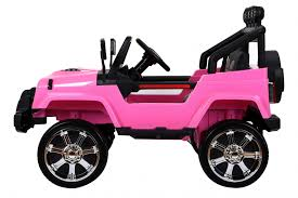 jeep pink rocket wrangler 4wd 12v electric ride on jeep pink