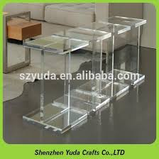 clear plastic bedside table acrylic i shape clear table acrylic floor standing square desk