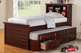 6 Drawer Bed Frame Cherry Solid Wood Bookcase Bed Frame With Trundle And Storage