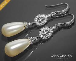 and pearl chandelier earrings bridal pearl chandelier earrings swarovski ivory teardrop pearl