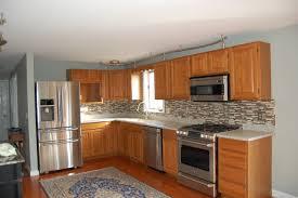Oven Backsplash Marvelous L Shaped Kitchen Cabinet Including Tiled Backsplash