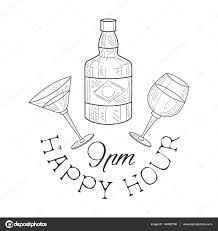 martini drawing bar happy hour promotion sign design template hand drawn hipster