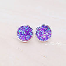 druzy stud earrings purple druzy stud earrings purple druzy earrings faux idealpin