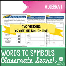 classmate search translating words to symbols activity classmate search algebra 1