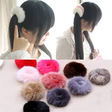 asian rabbit ring holder images 2018 fuzzy furry artificial rabbit fur faux fur hair band rope jpg