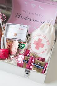 bridesmaid gift bag will you be my bridesmaid lunch box gift idea with a hangover kit