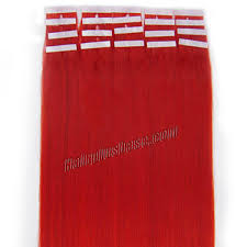 Ombre Hair Extensions Tape In by 16 Inch Red Tape In Human Hair Extensions 20pcs