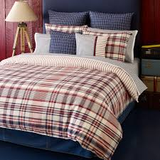 Twin Plaid Comforter Bedroom Plaid Bedding Design With Standing Lamp And Blue Cushion