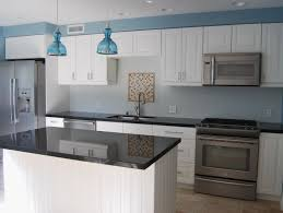 Kitchen L Shaped Island by Grey Color Mosaic Pattern Backsplash Island Granite Countertop