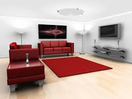 living room red painted wall with beige fabric sofa set also