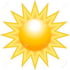 burning sun with sharp rays isolated on white background royalty