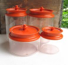 vintage tupperware set of 3 clear plastic canisters w orange push