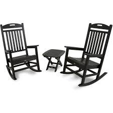 Rocking Chair Outdoor Furniture Trex Yacht Club Recycled Plastic 3 Piece Rocker Set Rocking