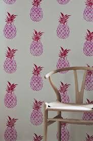 barneby gates pineapple pink red 10m roll wallpaper
