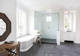 black and white herringbone bathroom floor tiles design ideas