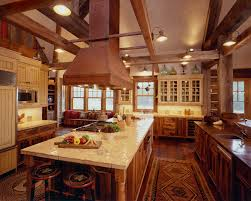 cool wooden kitchen decorating ideas with white marble counter top