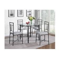 Amazoncom Piece Delphine Glass Top Metal Dining Set Black - Metal dining room tables